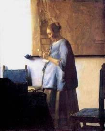Woman in Blue Reading a Letter Jan Vermeer van Delft