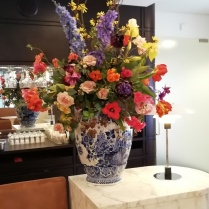 Silk flowers in cafe
